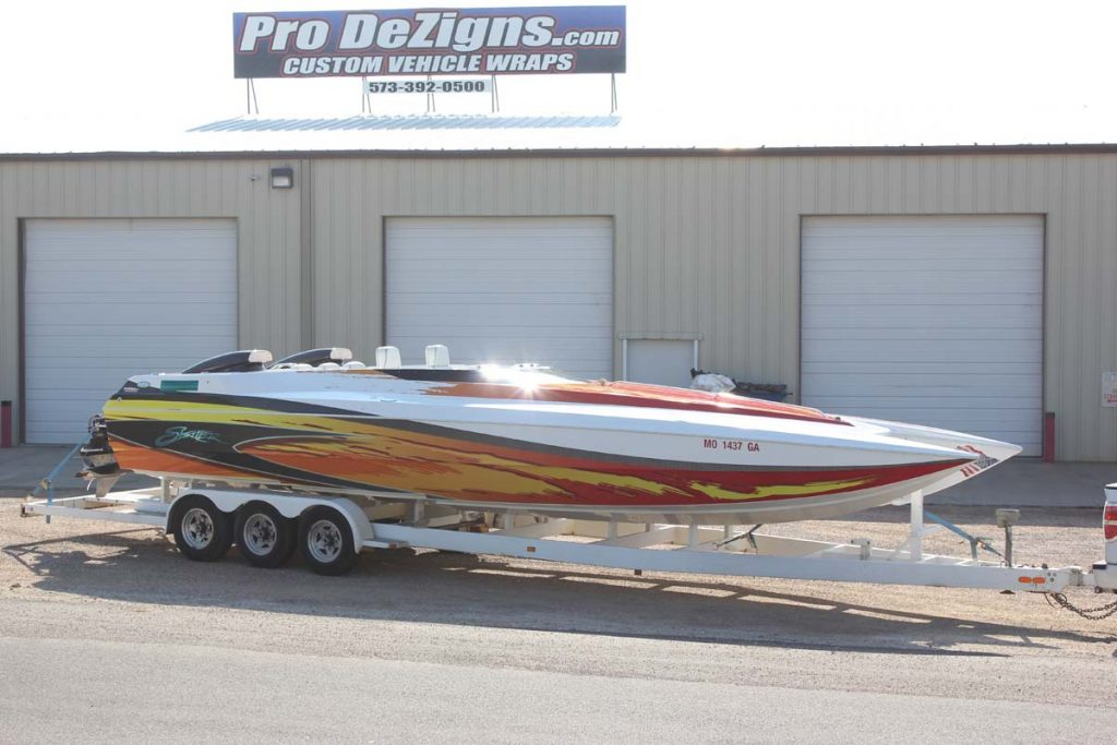 red yellow orange boat wrap