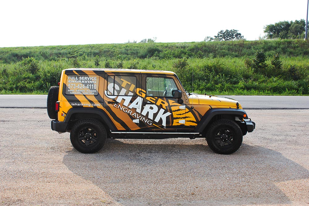 tiger-shark wrapped vehicle