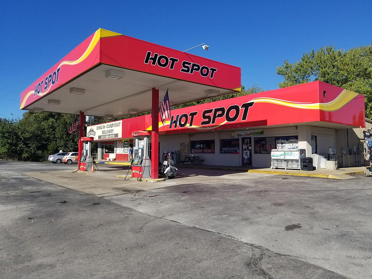 Wrapped gas station canopy