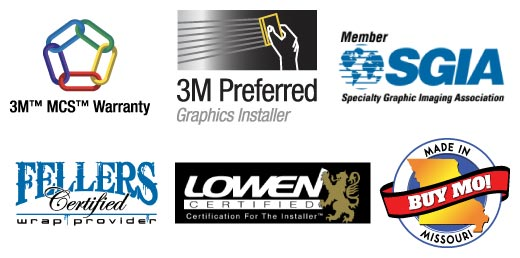 3M SCS Warranty - 3M Preferred Graphics Installer - Member SGIA: Specialty Graphic Imaging Association - Fellers Certified Wrap Provider - Lowen Certified - Buy MO: Made in Missouri